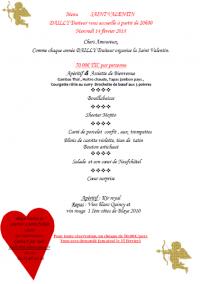 Pour les amoureux, soirée Saint Valentin mercredi 14 février 2018 chez DAILLY TRAITEUR à Isneauville